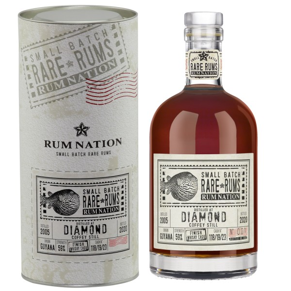 Rum Nation Rare Rum Diamond 15 Jahre Whisky Finish, 59% 0,7 ltr. (2005-2020)