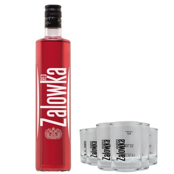ZALOWKA Red, 21% Vol. 0,7 ltr. & 6 Gläser